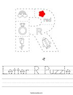 Letter R Puzzle Handwriting Sheet