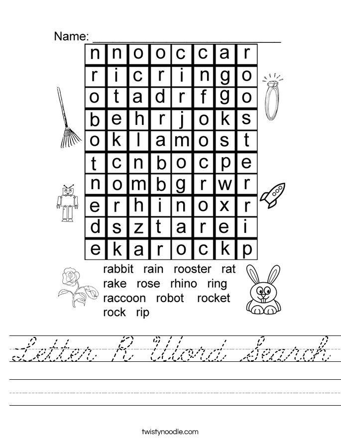 Letter R Word Search Worksheet