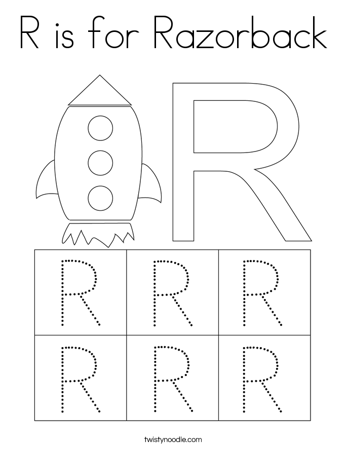 R is for Razorback Coloring Page