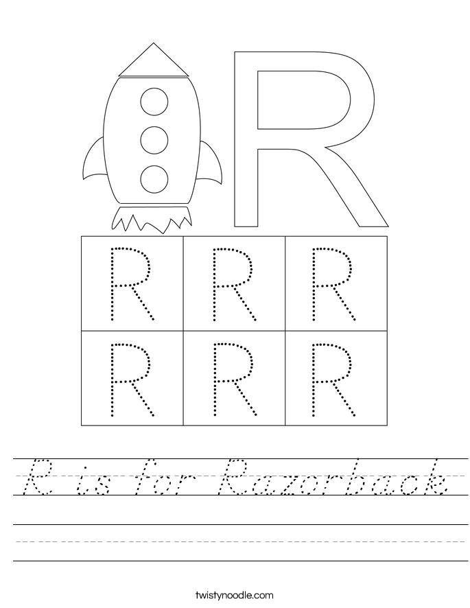 R is for Razorback Worksheet