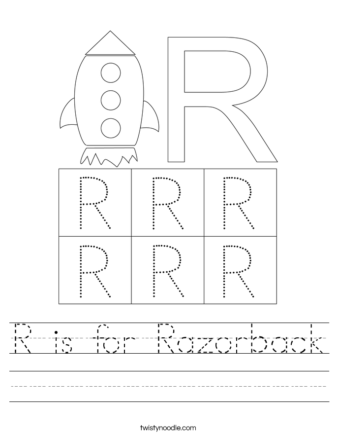 R is for Razorback Worksheet