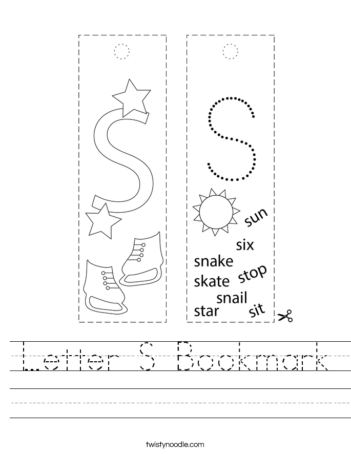 Letter S Bookmark Worksheet