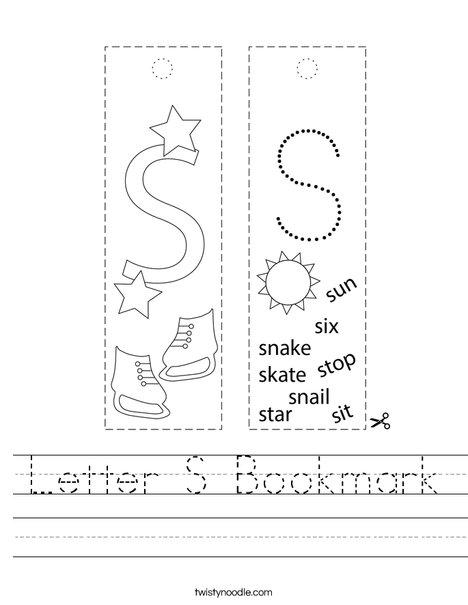 Letter S Bookmark Worksheet