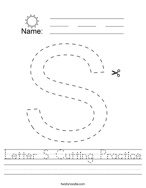 Letter S Cutting Practice Worksheet