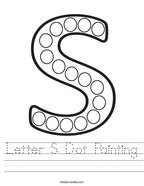 Letter S Dot Painting Handwriting Sheet