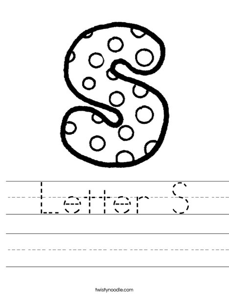Letter S Worksheet   Twisty Noodle 9dCXtZXt