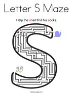 Letter S Maze Coloring Page