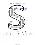 Letter S Maze Handwriting Sheet