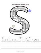 Letter S Maze Handwriting Sheet