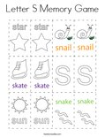 Letter S Memory Game Coloring Page