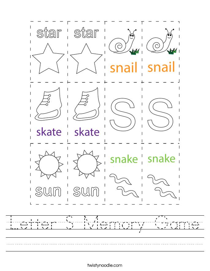 Letter S Memory Game Worksheet