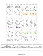 Letter S Memory Game Handwriting Sheet