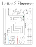 Letter S Placemat Coloring Page