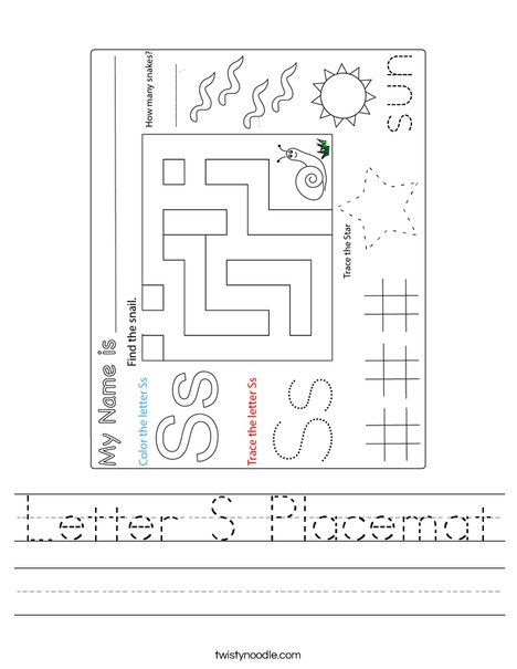 Letter S Placemat Worksheet