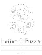 Letter S Puzzle Handwriting Sheet