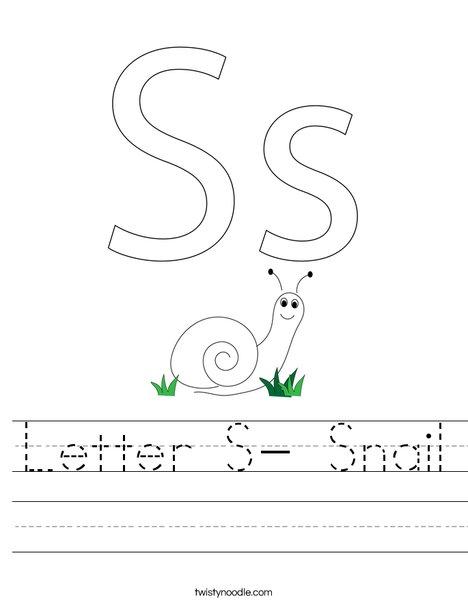 Letter S- Snail Worksheet