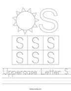 Uppercase Letter S Handwriting Sheet