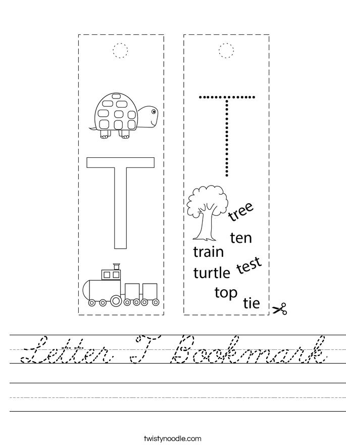 Letter T Bookmark Worksheet