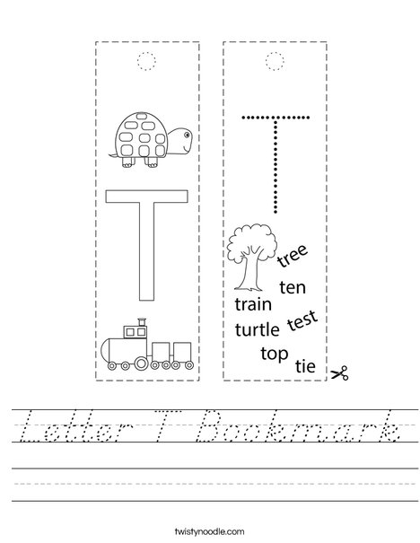 Letter T Bookmark Worksheet