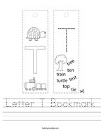 Letter T Bookmark Handwriting Sheet