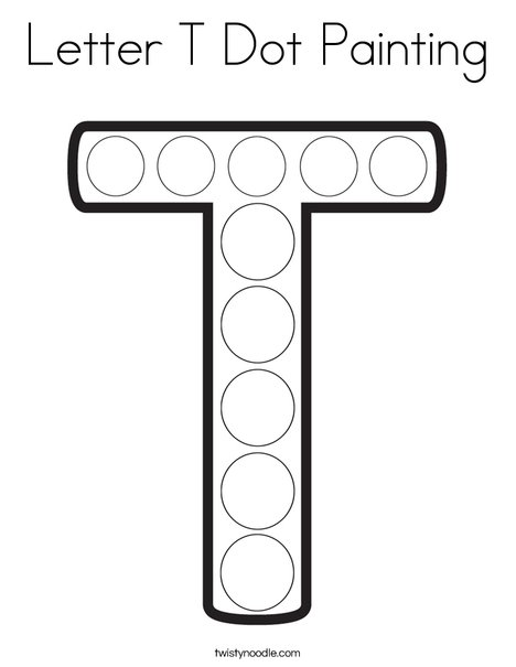 Letter T Dot Painting Coloring Page
