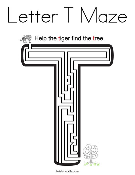 Letter T Maze Coloring Page