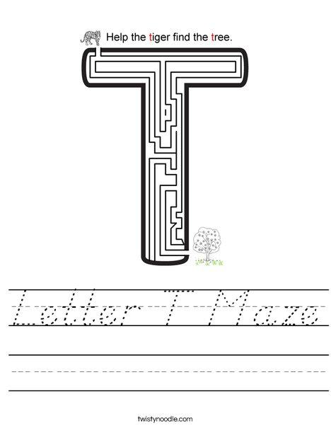 Letter T Maze Worksheet