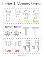 Letter T Memory Game Coloring Page