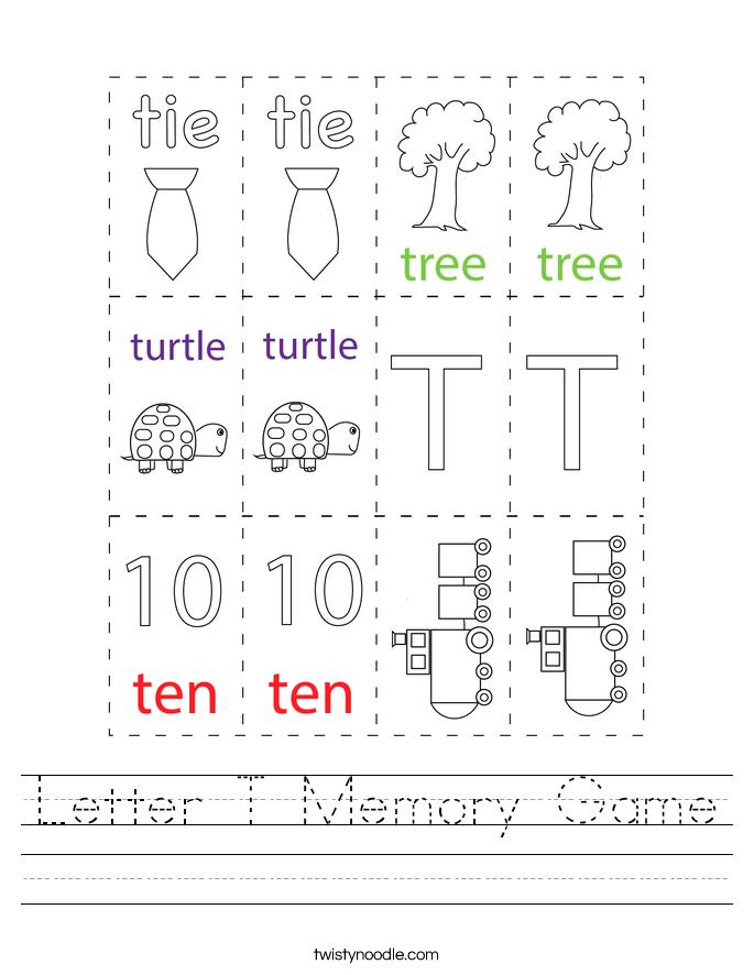 Letter T Memory Game Worksheet