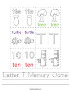 Letter T Memory Game Handwriting Sheet
