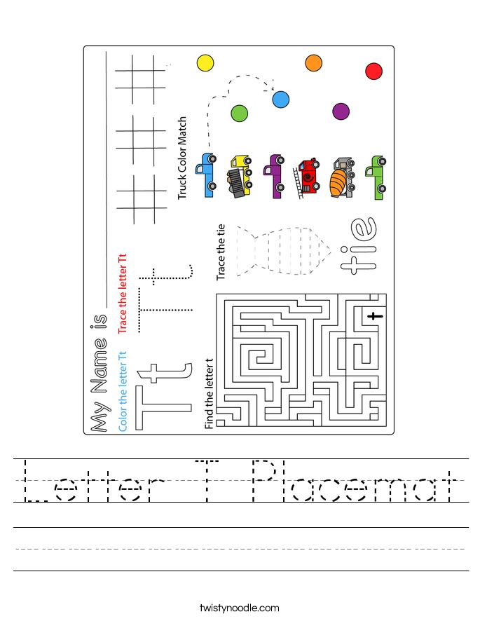 Letter T Placemat Worksheet