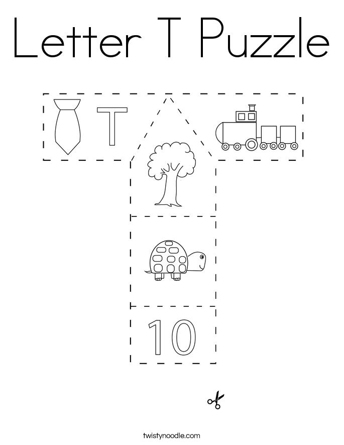 Letter T Puzzle Coloring Page