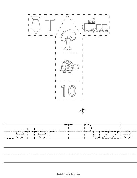 Letter T Puzzle Worksheet