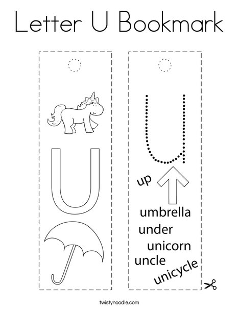 Letter U Bookmark Coloring Page