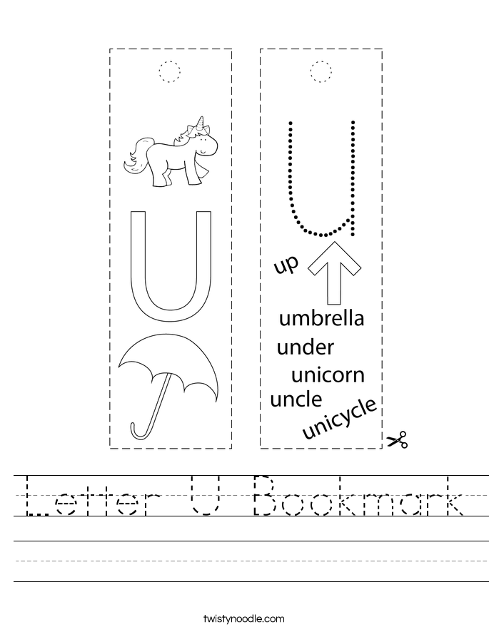 Letter U Bookmark Worksheet