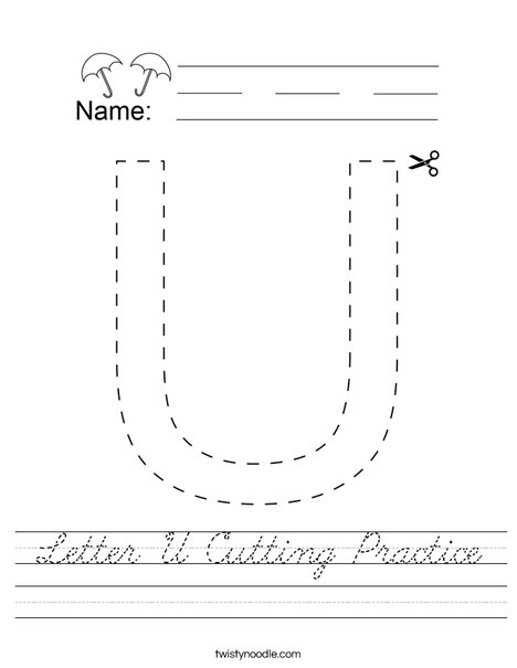 Letter U Cutting Practice Worksheet