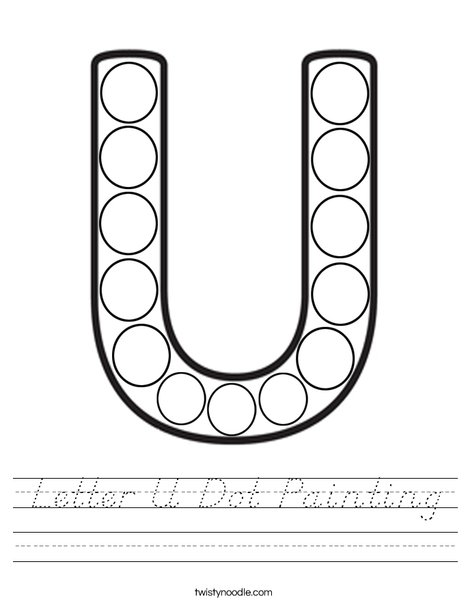 Letter U Dot Painting Worksheet