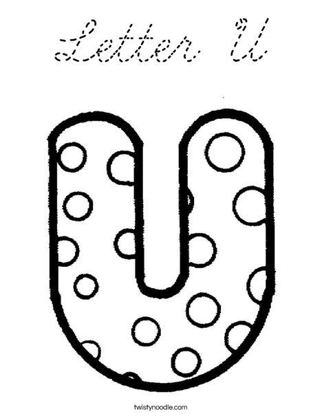 Letter U Dots Coloring Page