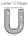 Letter U Maze Coloring Page