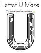 Letter U Maze Coloring Page