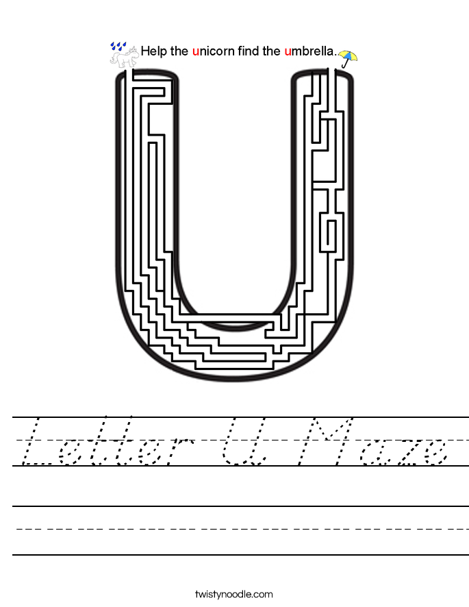 Letter U Maze Worksheet - D'Nealian - Twisty Noodle