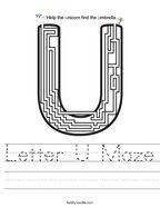 Letter U Maze Handwriting Sheet