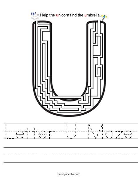 Letter U Maze Worksheet