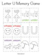Letter U Memory Game Coloring Page