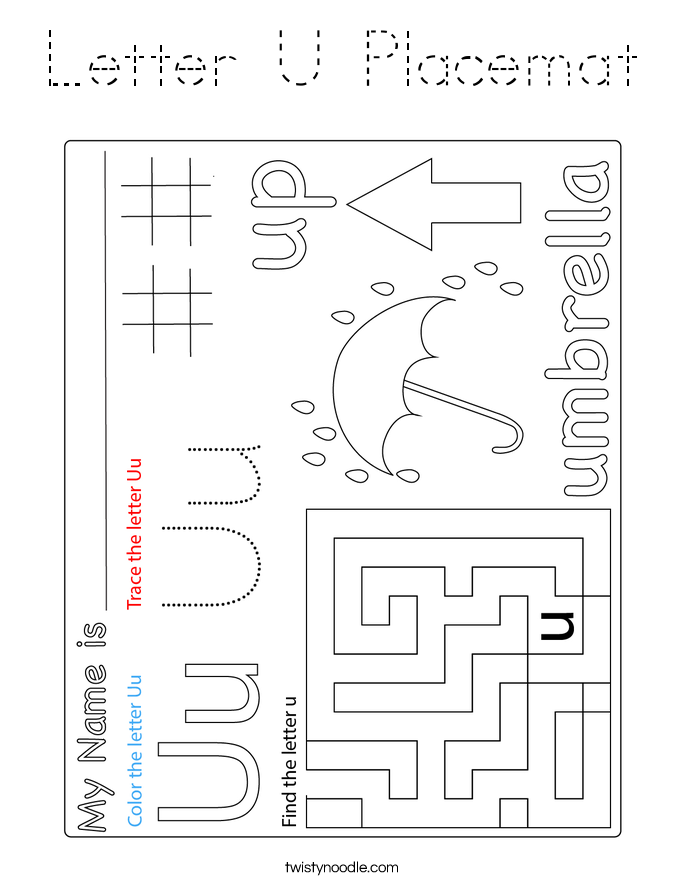 Letter U Placemat Coloring Page