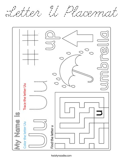 Letter U Placemat Coloring Page