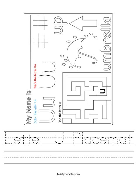 Letter U Placemat Worksheet