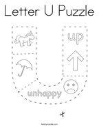 Letter U Puzzle Coloring Page