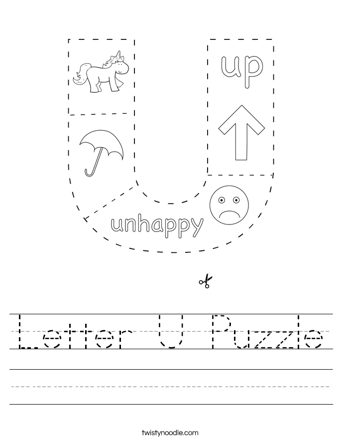 Letter U Puzzle Worksheet