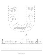 Letter U Puzzle Handwriting Sheet